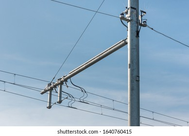 detail of overhead voltage cable on E-highway test track in Germany