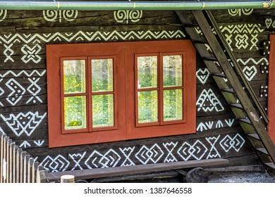 Detail of painted folk house, Cicmany village, Slovak republic. Architectural theme. Travel destination.