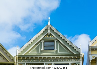 Detail of a Painted Lady roof in San Francisco, California