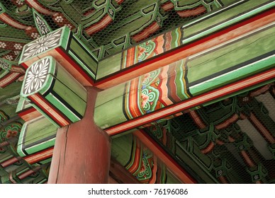 detail of painted wooden temple in seoul south korea