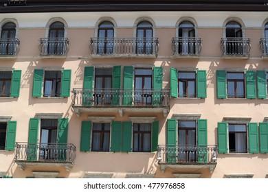 Detail of a palace Riva del Garda. June 2016, Riva del Garda - Italy