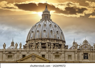 "Detail of the Palace of the Vatican, ""The Dome"" with beautifull sky."