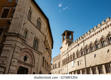 detail of palaces and architecture in Piazza IV Novembre, Perugia