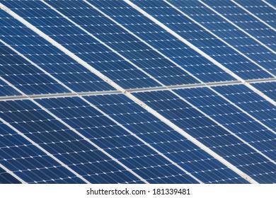 Detail of panels on field for solar energy in Czech republic