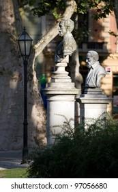 Detail of the park Zrinjevac. Zagreb, Croatia.