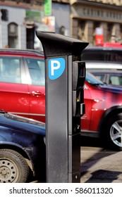 detail of parking meter on city street