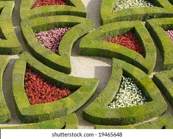 Detail of the part of the Love Garden, in the Formal Gardens at the Chateau de Villandry in the Loire Valley of France
