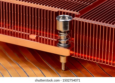 Detail of passive copper heat sinks used to cool electronics components