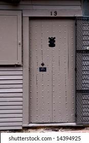 detail of paul revere house front door in historic north square boston massachusetts