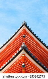 Detail of the pediment of Japanese temple roof.