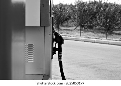 Detail of a petrol pump in a petrol station (Marche, Italy, Europe)