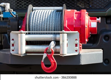 Detail photo of the car winch.