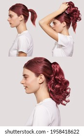 Detail photo of hair extension stages: young lady with mahogany hair color is fixing false curly ponytail on her head. Natural looking strands for hair extension match girl's hair color.