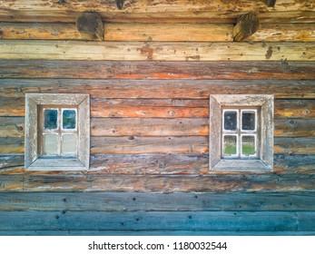 Detail photo of an old wooden window. Zaporozhye, Ukraine, 22 August 2018.