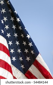 Detail photo of the Star Spangled Banner or flag of the USA