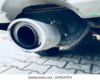 detail photo of a traditional car exhaust
