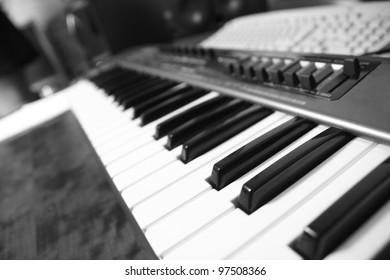 detail of piano keys
