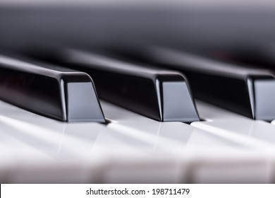 Detail of piano musical instrument keyboard.