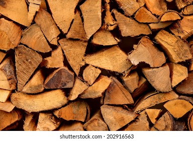 Detail from a pile of chopped firewood