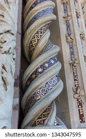 Detail of a pillar in the Facade of the Duomo Cathedral of Orvieto in Italy