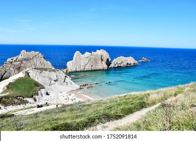 Detail of playa arnia at Arnia beach Pielagos, Cantabria, spain europe