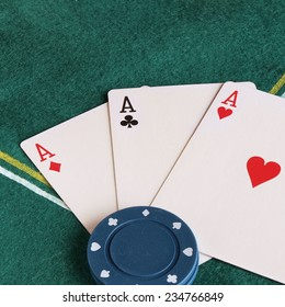Detail of poker cards and chips.