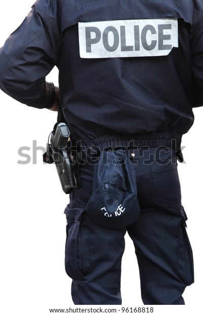 detail of a police officer isolated on white