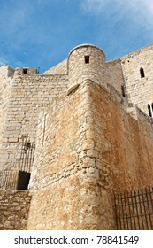 Detail of Pope Luna's Castle in Peniscola, Valencia Province, Spain. In this castle lived the last Pope after the western schism from Rome, Benedict XIII or Pope Luna.