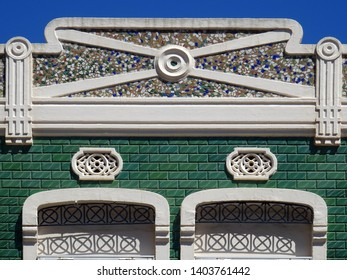 Detail of popular Revival house in Cabanyal quarter in the city of Valencia. Spain