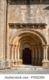 Detail of  Portal of the Romanesque Church in Spain
