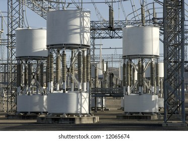Detail of a portion of a high-voltage electrical power distribution substation in the San Joaquin Sacramento River Delta