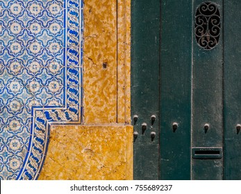 Detail of Portuguese tile in the streets of Lisbon
