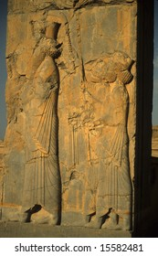 Detail, procession of king and his servants,	 [capital city of Persian empire, Darius ]	Persepolis, 	Iran, Middle East