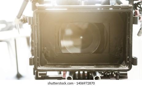 Detail of Professional camera equipment,Film production crew