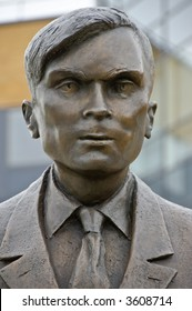 Detail of public statue of Alan Turing 1912 - 1954, father of modern computer science, at University of Surrey, Guildford, Surrey, Great Britain