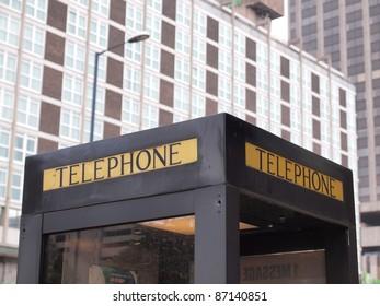 Detail of a public telephone phone box