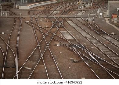 Detail of rail tracks in a suburban  Railway Yard