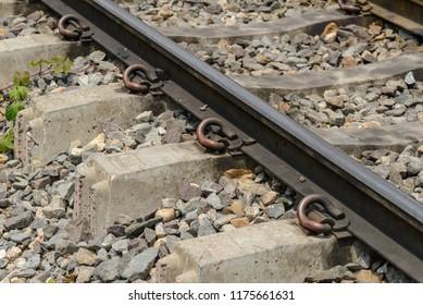 Detail of railway track - railroad landscape