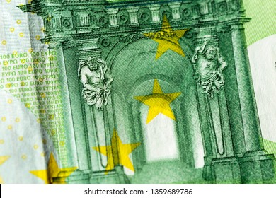 Detail of raised print area as security feature on obverse side of €100 one hundred Euro banknote. European Central Bank. Baroque and rococo architecture on design element of note.