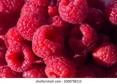 detail of raspberries