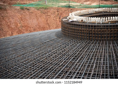 Detail rebar foundation structure wind mill