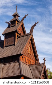 Detail of reconstructed wooden Gol Stave Church (Gol Stavkyrkje) in Norwegian Museum of Cultural History at Bygdoy peninsula in Oslo, Norway, Scandanavia