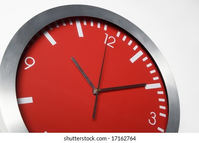 detail of a red clock