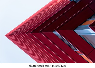 Detail of a red skyscrapers in the sky, abstract