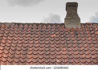 Detail of red tile roof in old town of Christiansfeld, Denmark.