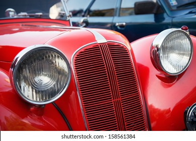 detail of red veteran car