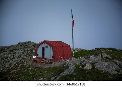 Detail of refuge in mountain, Italy. Blue sky in the background.