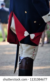 Detail of a reproduction colonial military uniform.