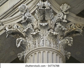 detail of a richly decorated corinthian pillar
