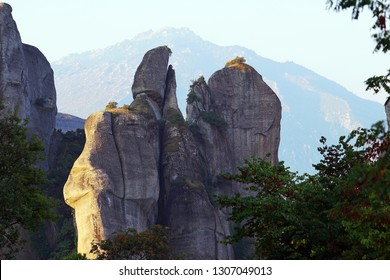 Detail of the rock formations of the Meteora mountains, Greece